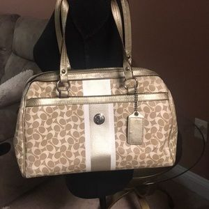 Gold and White Coach Bag